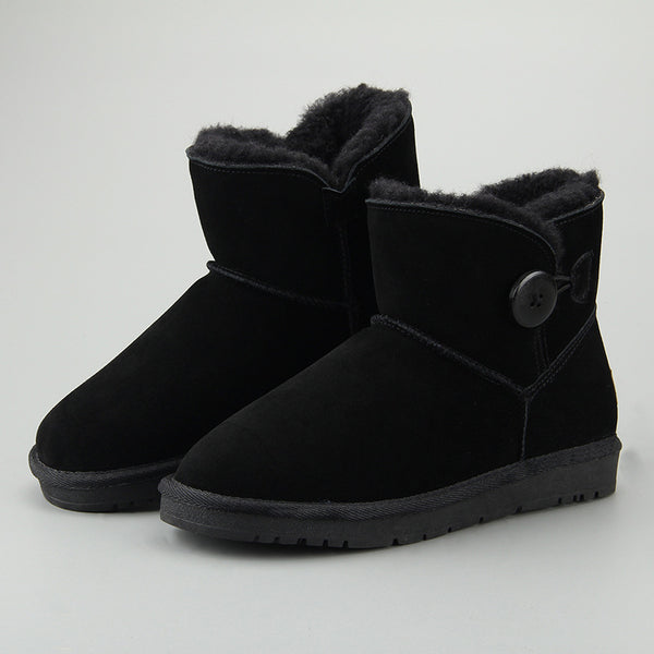 Women Leather Fleece Lining Fur Keep Warm Button Ankle Snow Boots