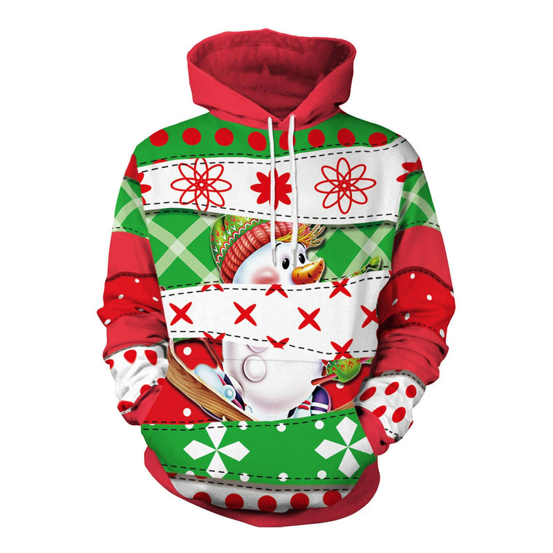 Christmas Drawstring Loose Hooded Pockets Sweatshirt - fashionshoeshouse