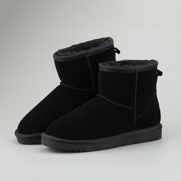 Women Leather Fleece Lining Fur Keep Warm Ankle Snow Boots