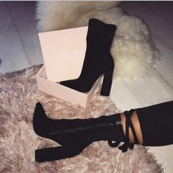 Fashion Women 10cm High Heels Ankle Boots Thick Heels - fashionshoeshouse