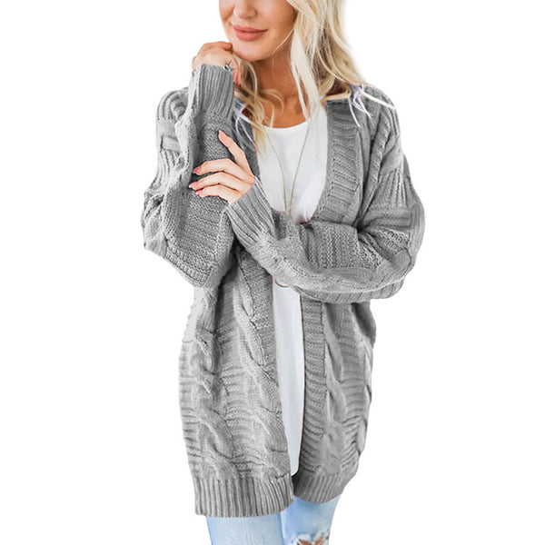 Solid Knit Long Cardigan Sweater For Women - fashionshoeshouse