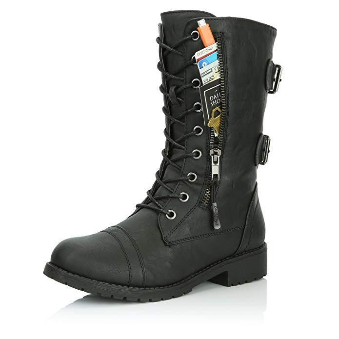 Women Lace up Mid Calf Hide Credit Card Knife Money Wallet Extra Pocket Military Combat Boots - fashionshoeshouse