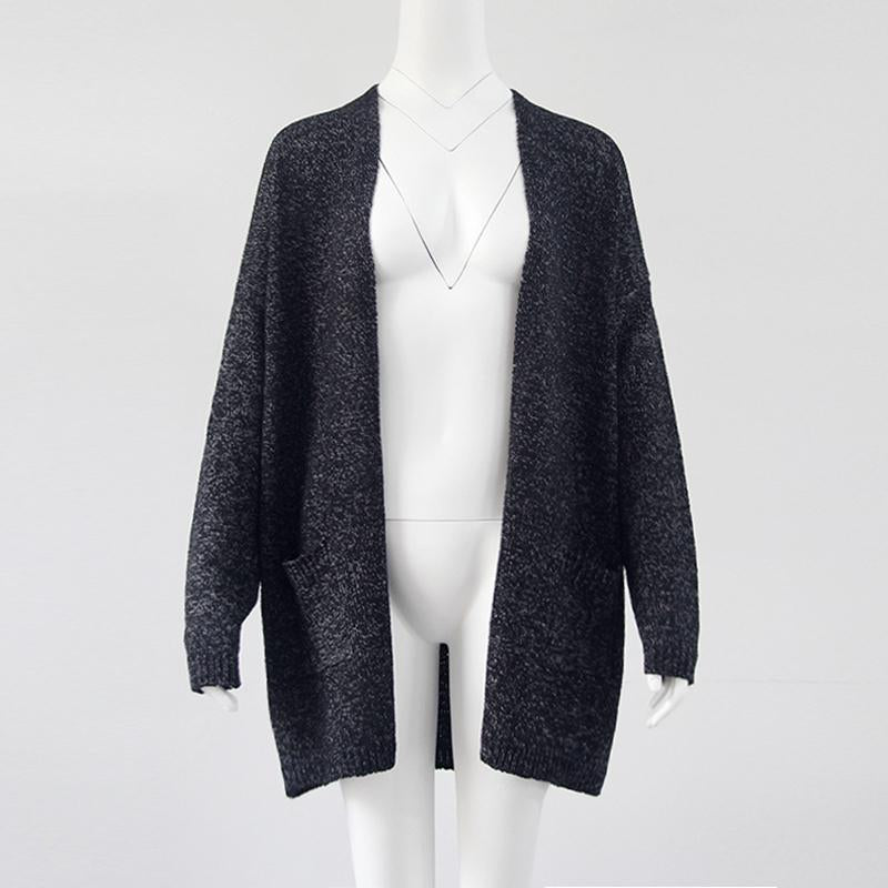 Women 5XL Knit Long Sleeve Pockets Plus Size Cardigan - fashionshoeshouse