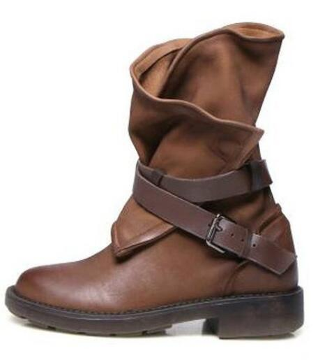 Women Vintage Roma Buckle Cross Strap Wide Calf Boots - fashionshoeshouse