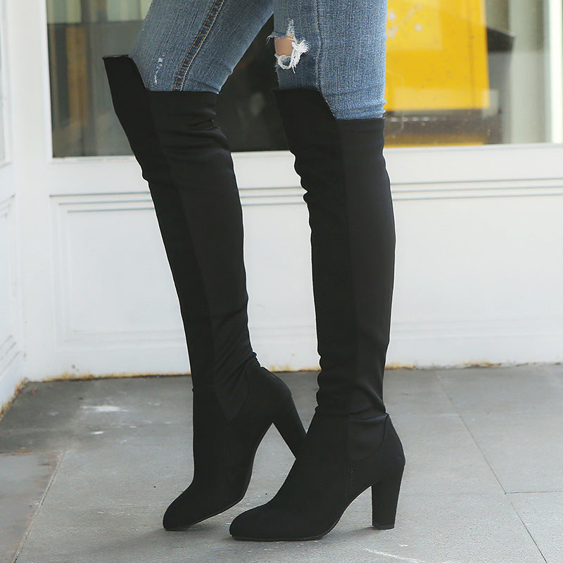 Women's suede elastic over the knee boots high heeled stretch patchwork tall boots