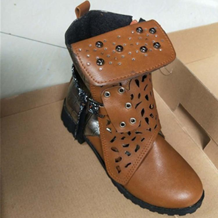 Hollow Out Carving Rivet Platform Short Ankle Boots - fashionshoeshouse