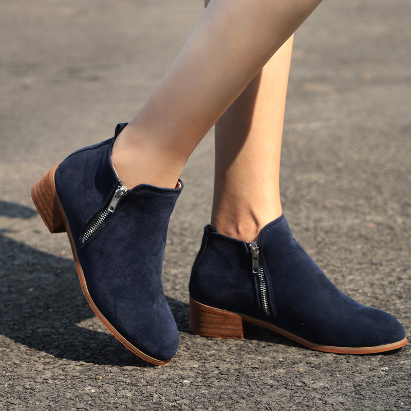 Autumn Winter Shoes Ankle Suede Boots Square Chunky Low Heels Booties - fashionshoeshouse