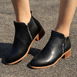 Autumn Winter Shoes Ankle PU Boots Square Chunky Low Heels Booties - fashionshoeshouse