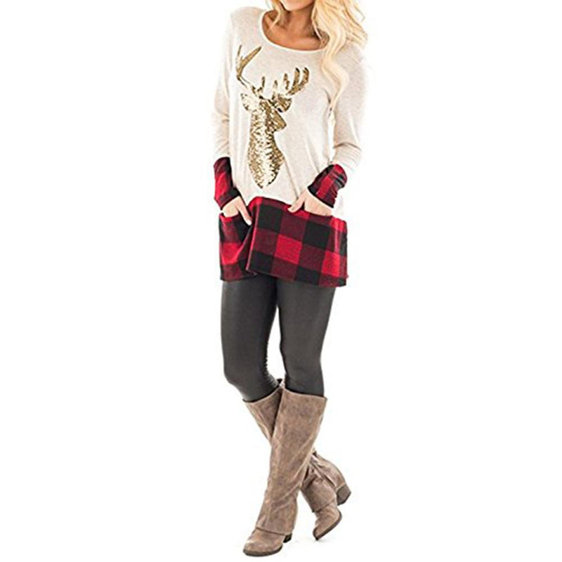 Christmas Plaid Hot Stamping Reindeer Paneled Women Tops - fashionshoeshouse