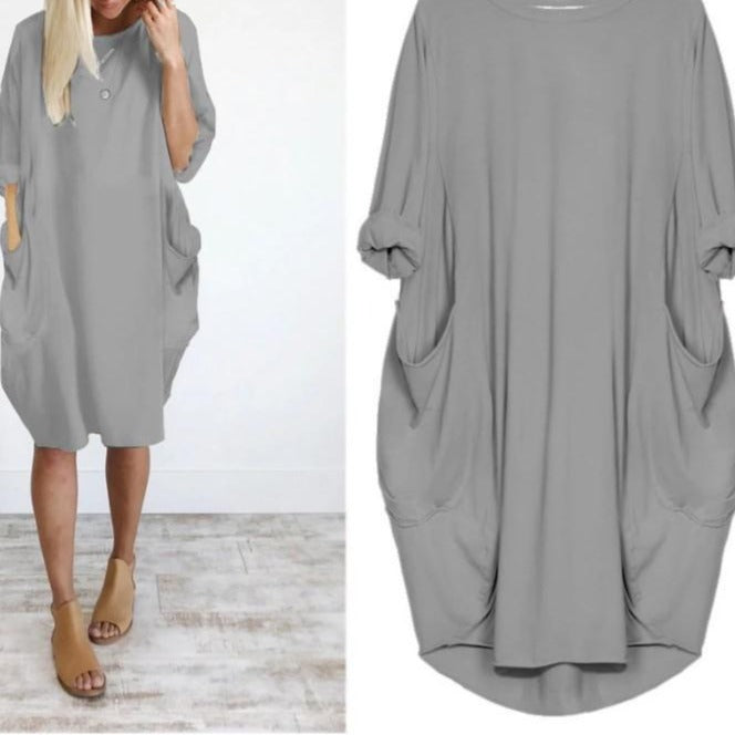 Autumn Long Sleeve A Line Dress With Pockets - fashionshoeshouse