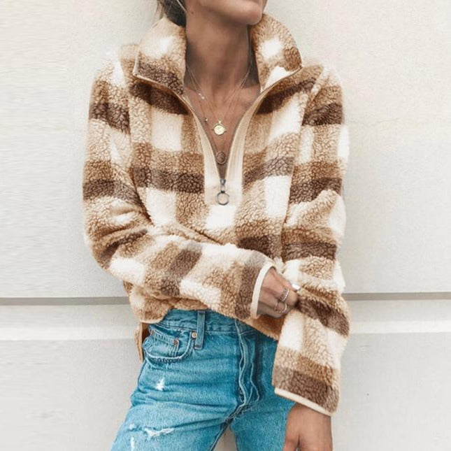 Vintage Stand-Up Neck Long Sleeve Cashmere Plaid Sweatshirts - fashionshoeshouse