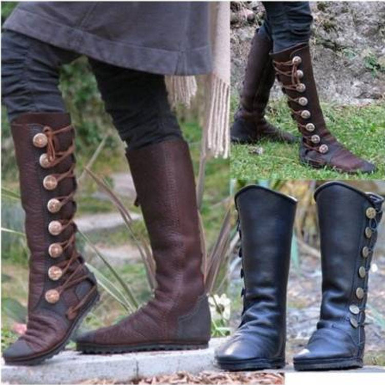 Women's elastic lace up boots with buckles platform knight boots