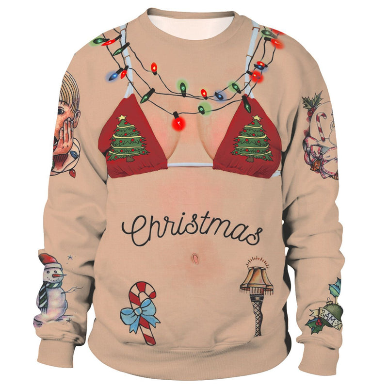 2019 Christmas Loose Crew Neck Long Sleeve Women Sweater - fashionshoeshouse