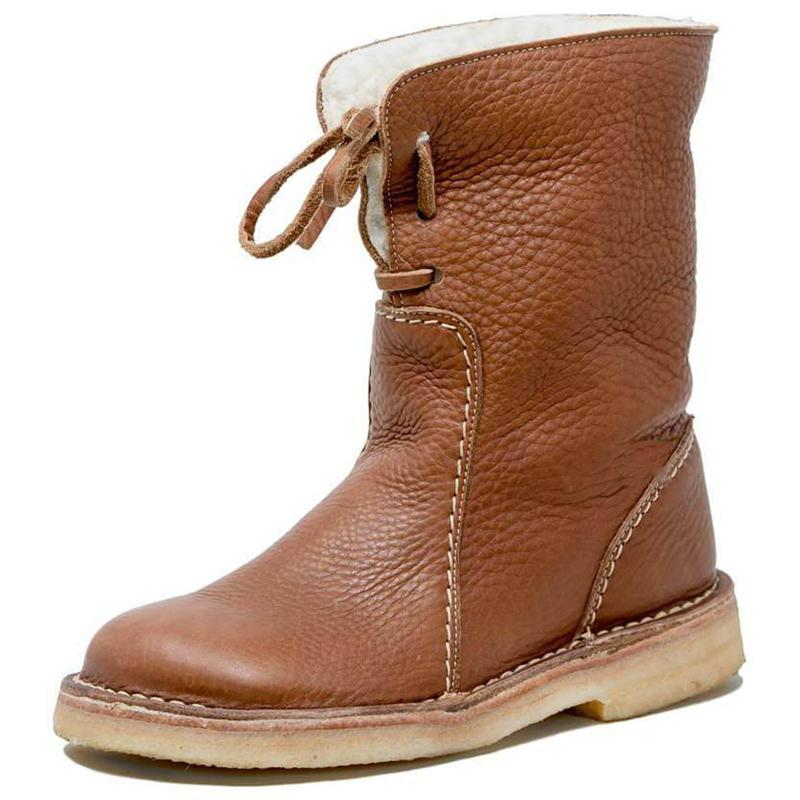Women Casual Lining Cotton Keep Warm Flat Heel Lace Up Boots - fashionshoeshouse