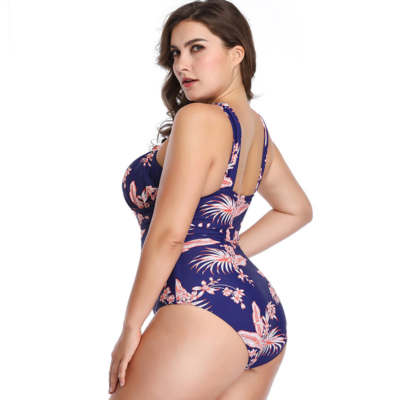 One Piece Floral Criss Cross Plus Size Swimwear - fashionshoeshouse