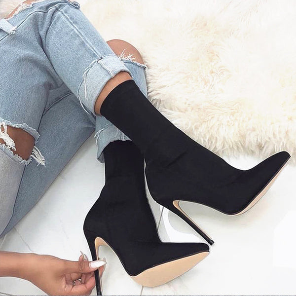 Women Solid Color Pointed Toe Stiletto High Heel Elastic Sock Booties