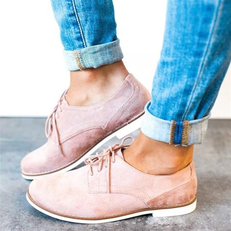 Lace Up Flat Heel Oxfords Comfy Driving Loafers For Women - fashionshoeshouse