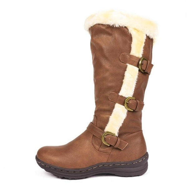 Women Fashion Buckle Strap Flat Heel Mid Calf Winter Lining Faux Fur Snow Boots