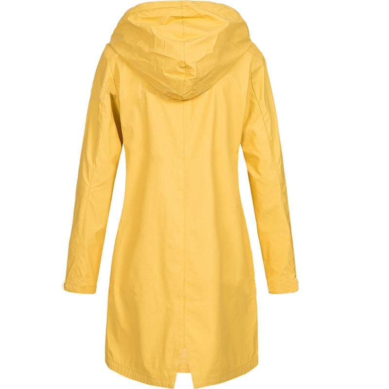 Women's hooded windbreaker zipper trench coat waterproof