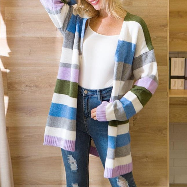Women Color Block Stripes Long Cardigan - fashionshoeshouse