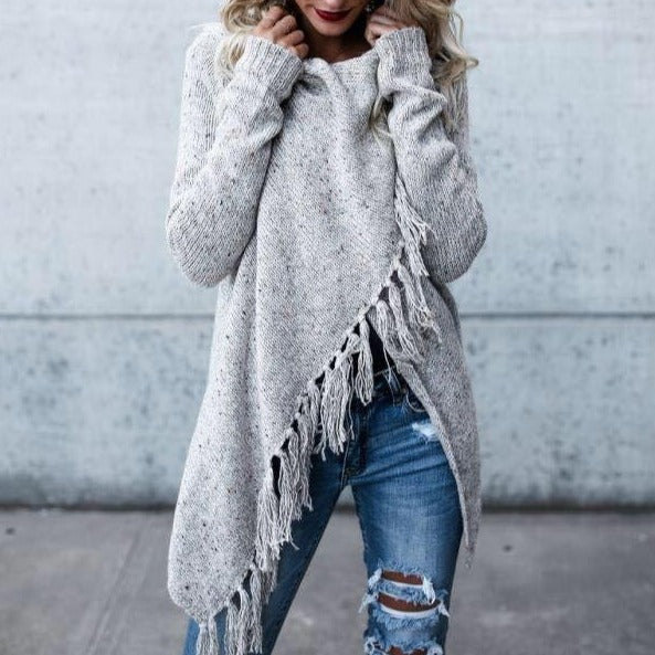Women's cross wrap tassels long sleeve sweater fashion cowl neck sweater
