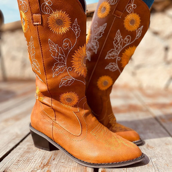 Women's mid calf western cowboy boots flower embroidered retro pointed toe boots