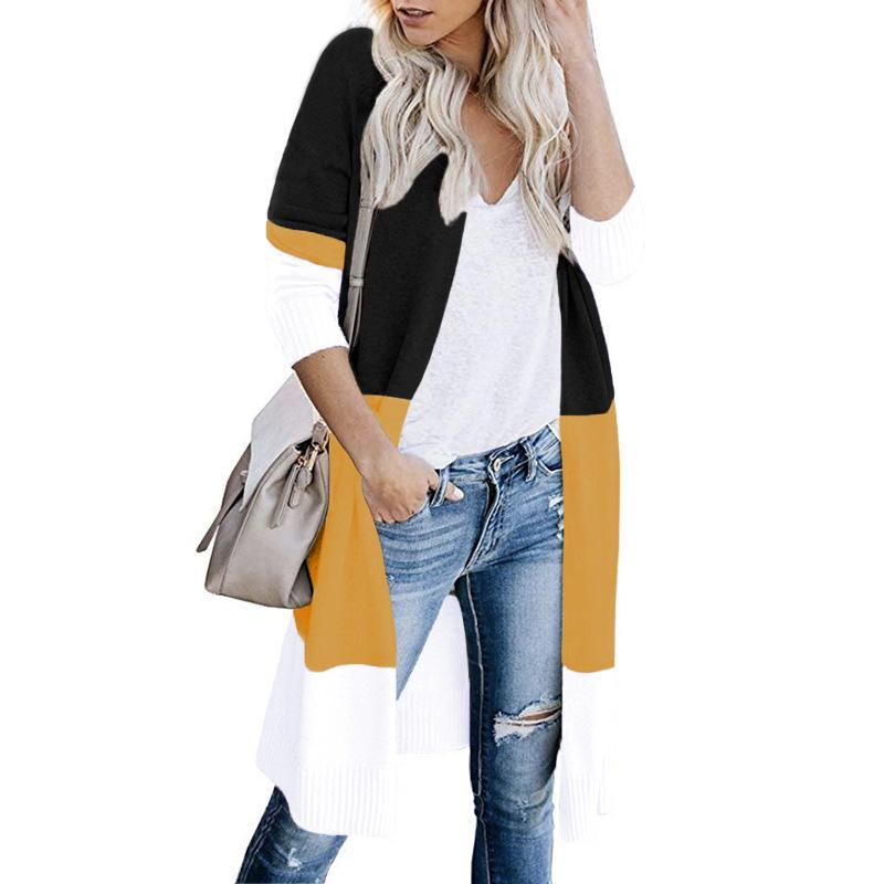 Women Striped Color Block Long Cardigan - fashionshoeshouse