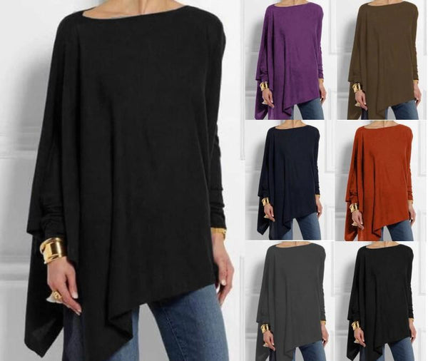 Women Round Neck Long Sleeve Cotton Blend Shirts & Tops - fashionshoeshouse