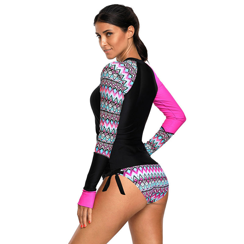 Geometric Printed Bowknot Long Sleeve Swimsuit - fashionshoeshouse