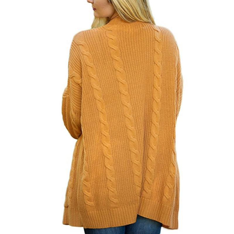 Women Plus Size Knit Pockets Cardigan Sweater - fashionshoeshouse