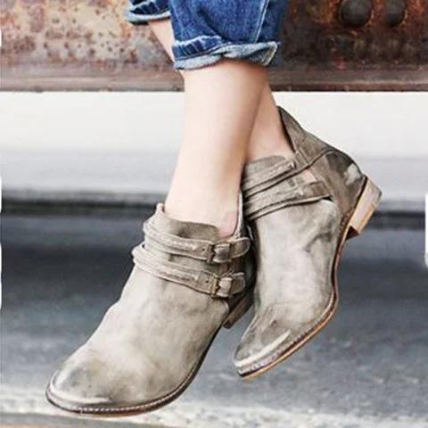 Women Booties Double Breasted Strap Buckle Ankle Boots - fashionshoeshouse