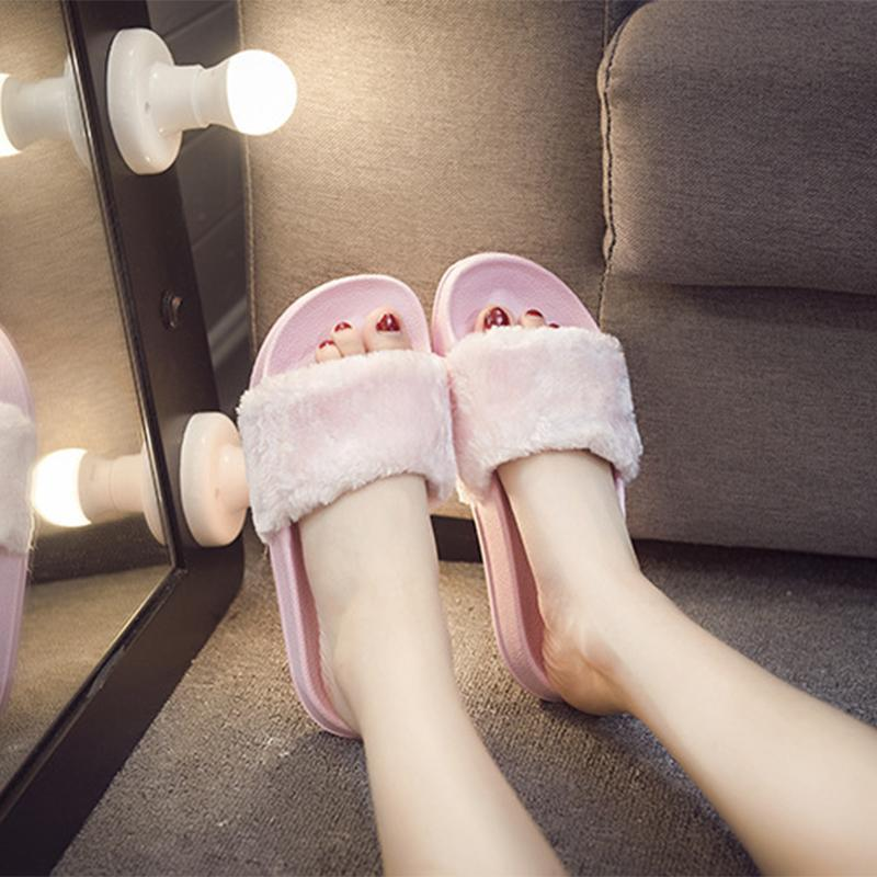 Autumn Fur Keep Warm Pure Color Slippers For Women - fashionshoeshouse