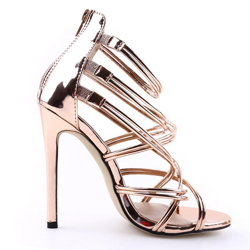 Back Zipper Open Toe Gold High Heels For Women - fashionshoeshouse