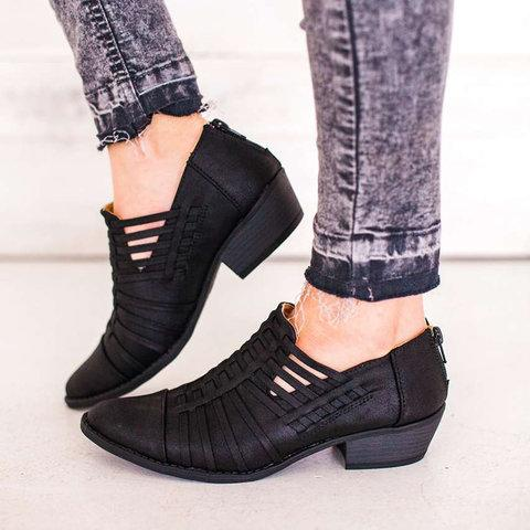 Women Booties Stripes Back Zipper Fashion Chunky Short Boots - fashionshoeshouse