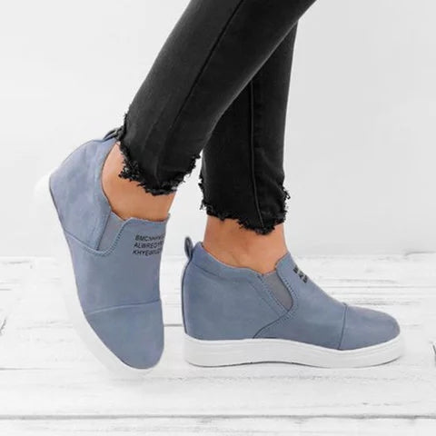 Women Fashion Slip On Wedge Sneakers - fashionshoeshouse