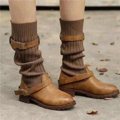 Vintage Elastic Comfy Sweater Paneled Adjustable Buckle Casual Calf Boots - fashionshoeshouse