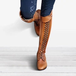 Women Plus Size Lace Up Horse Riding Boots - fashionshoeshouse