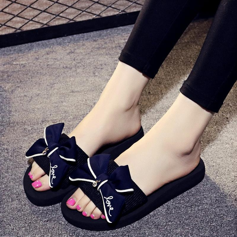 Big Blue Bowknot Pendant Low Heel Slippers For Women - fashionshoeshouse