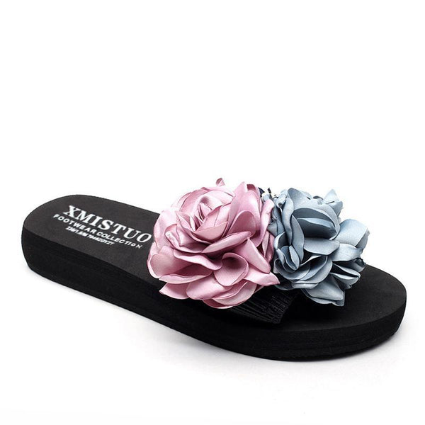Blue And Pink Flowers Decorated Beach Slippers For Women - fashionshoeshouse