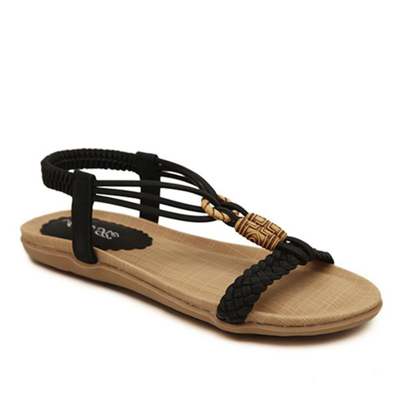 Bohemia Beads Design Summer Breathable Strappy Women Sandals - fashionshoeshouse