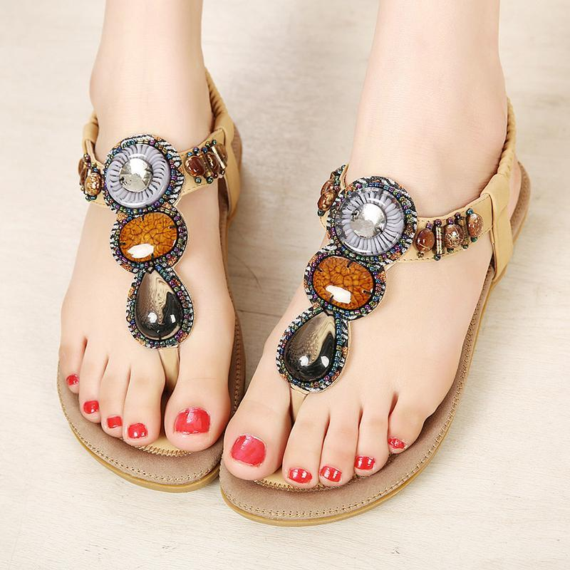 Bohemia Beads Summer Shoes Wild Casual Beach Women Sandals - fashionshoeshouse
