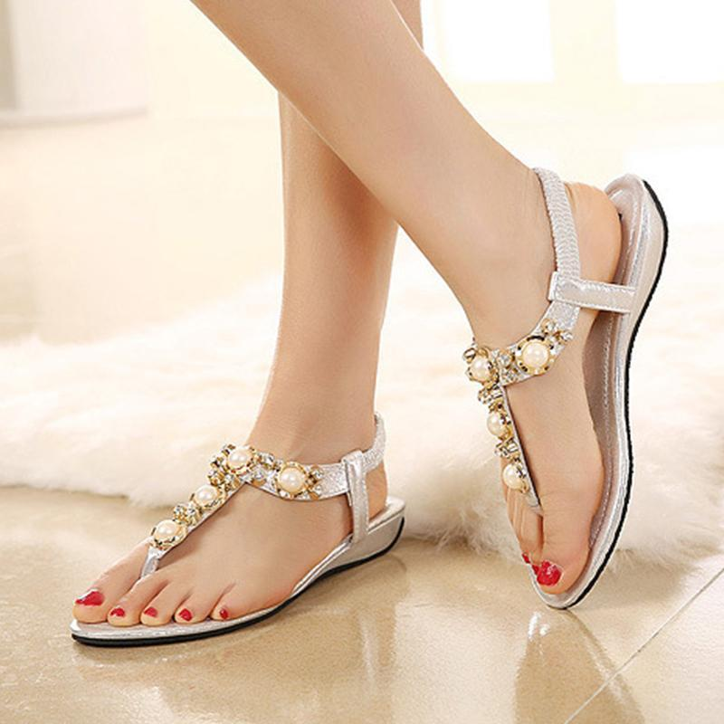 Pink Bohemia Women Sandals Clip Toe Summer Sandals with Vintage Beads Design - fashionshoeshouse
