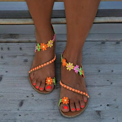 Boho Flower Slip-On Flat Holiday Sandals For Women Summer - fashionshoeshouse