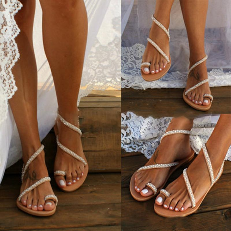Boho Handmade Pearl Beach Sandals Bridal For Women - fashionshoeshouse