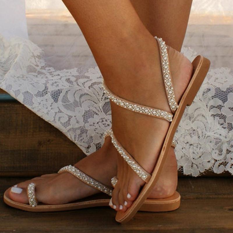 Flat beach sandals jeweled sparkly sandals for summer - fashionshoeshouse