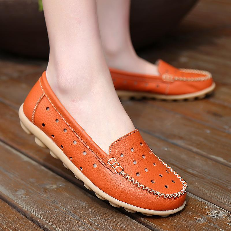 White Breathable Summer Loafers for Women - fashionshoeshouse