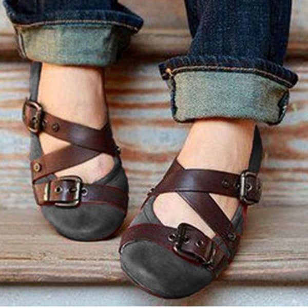 Buckle Strap Casual Flat Loafers - fashionshoeshouse