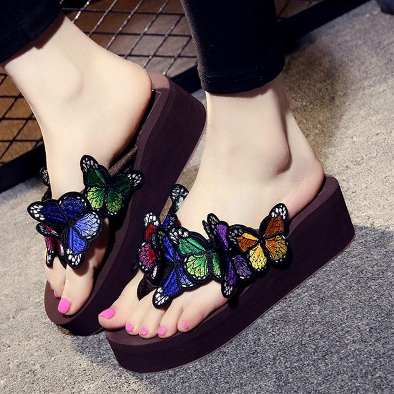 Butterflies Chunky Heel Antiskid Pink Slippers For Women - fashionshoeshouse