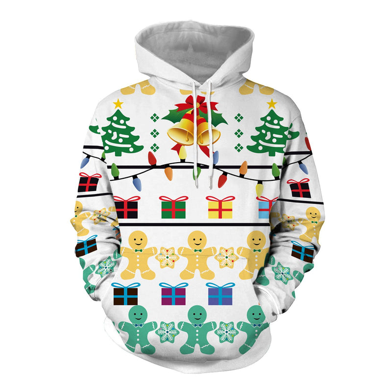 Christmas Holiday Casual Party Loose Hooded Pockets Sweatshirt - fashionshoeshouse