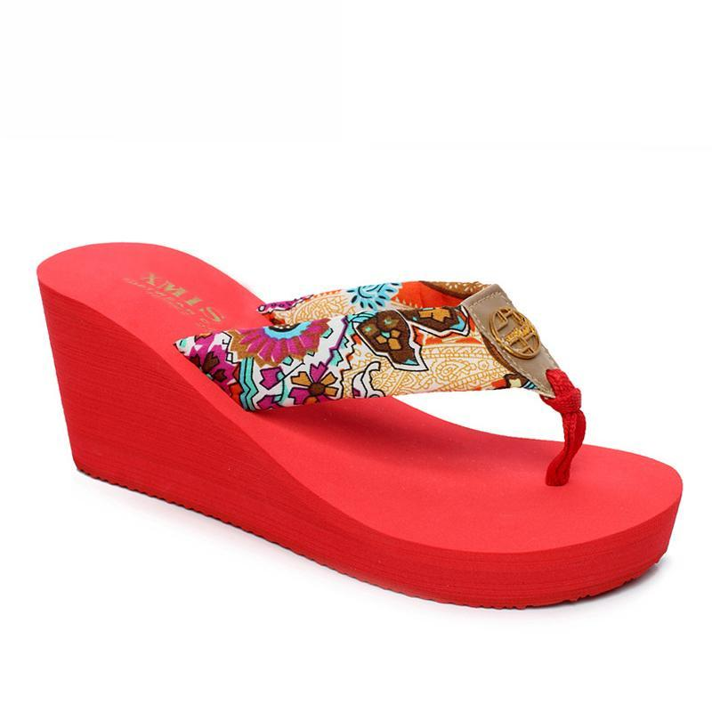 Bohemia Clip Toes Stylish Ladies Slippers Red Summer Platform Sandals - fashionshoeshouse